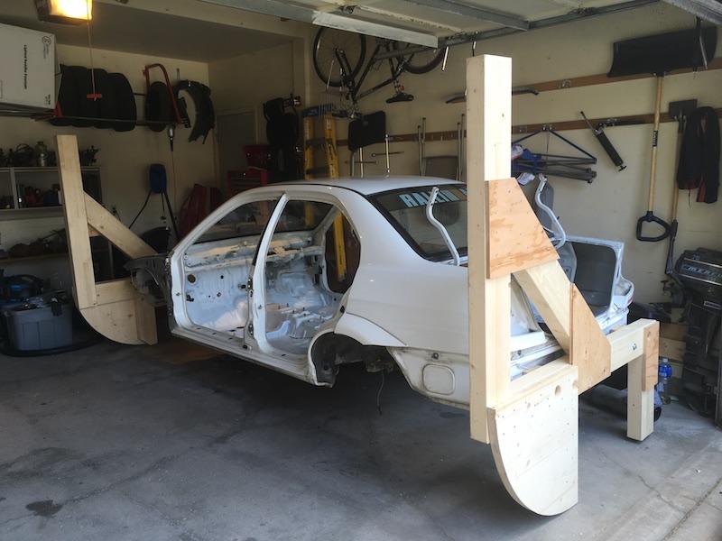 Evo VI up on DIY car rotisserie