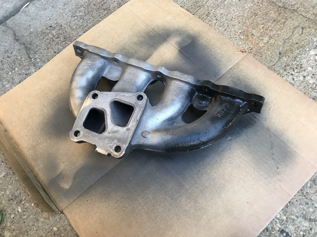 Coating exhaust manifold with graphite from an Evo 6