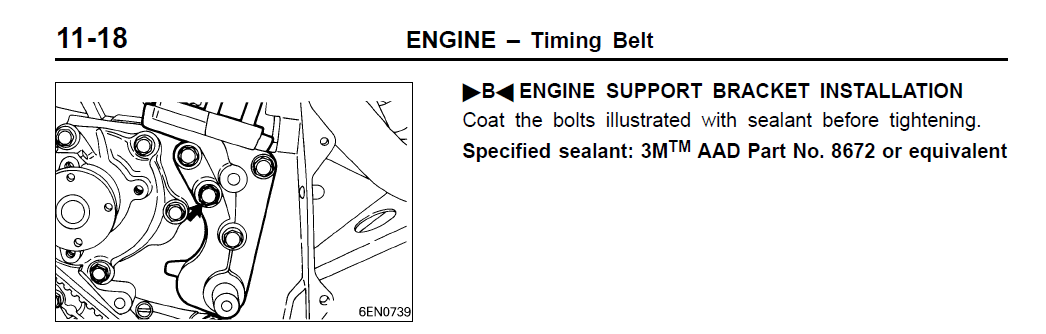 Diagram outlines installation of the engine support bracket on an Evo.