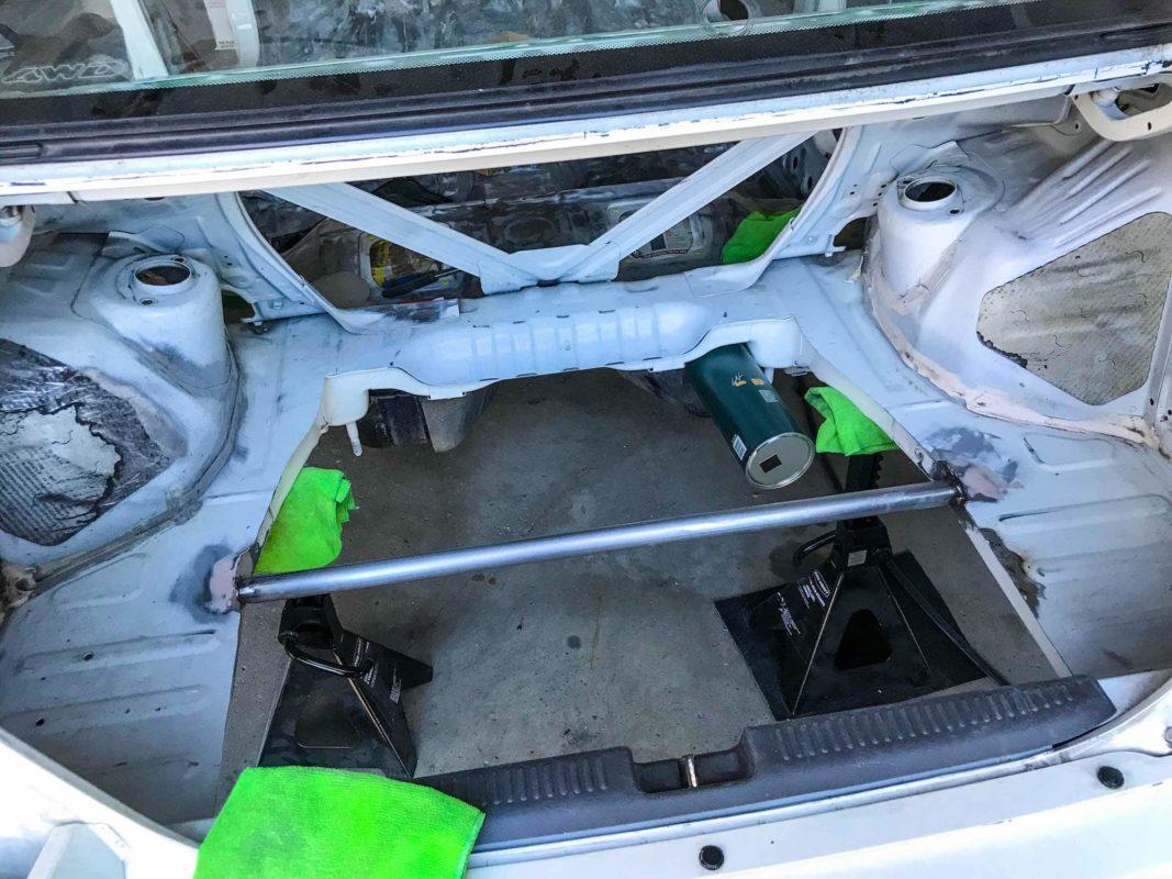 Rear brace welded in to Evo 6 trunk