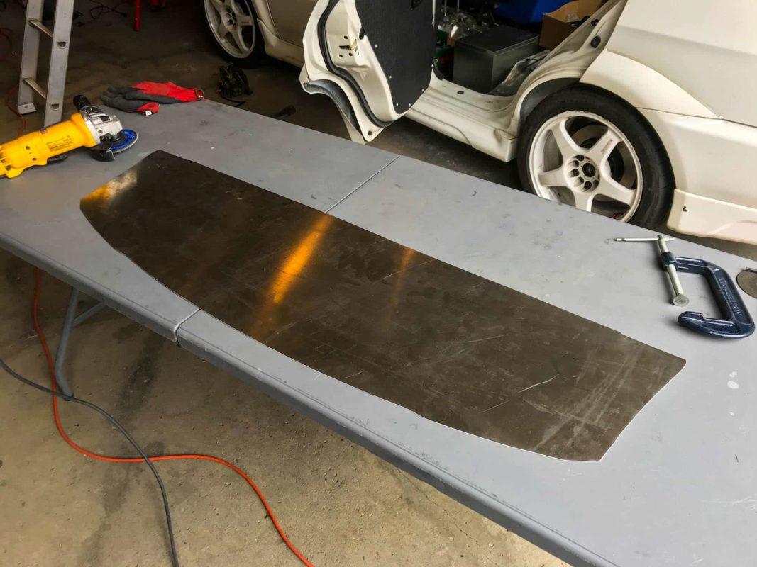 Custom rear firewall bulkhead for Time Attack Evo 6